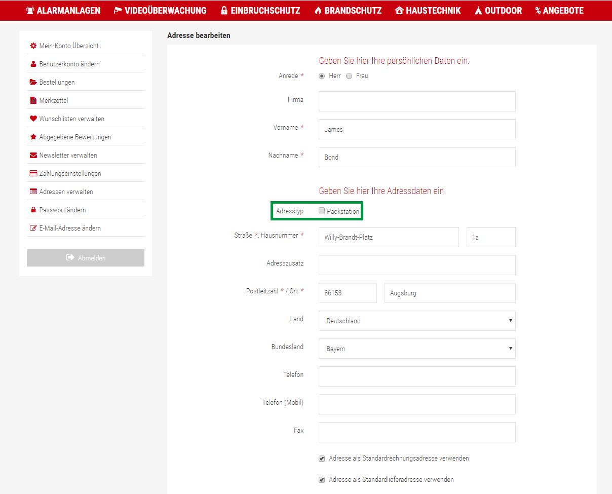 Lieferadresse hinzufügen Schritt2